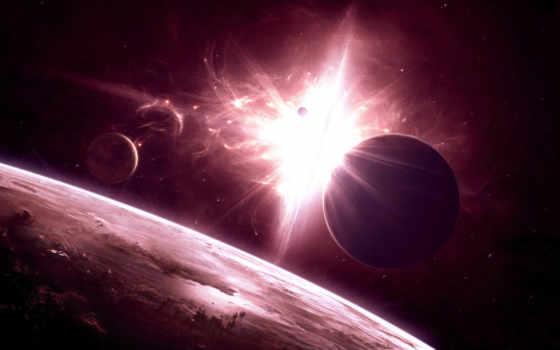 солнечной, далеко, прекрасное, космос, системе,