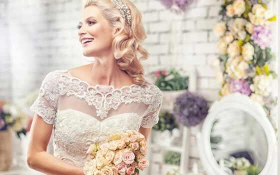 невеста, букет, свадебный, невесты, радость, день,