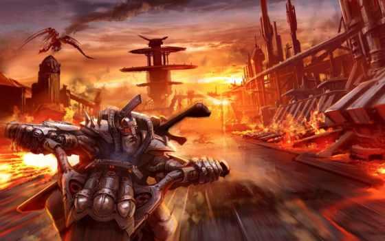 дорога, закат, мотоцикл, скорость, дракон, biker, борода, небо, город, огонь,