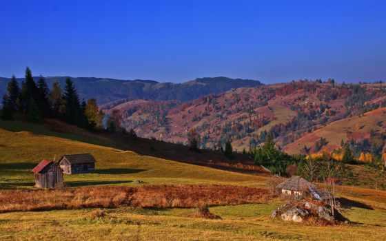 карпаты, небо, trees, осень, ukrainian, холмы, горы, изба, страница, romanian, домики,