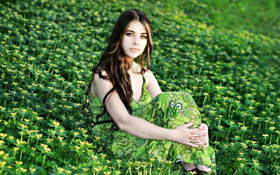платье, девушка, поле