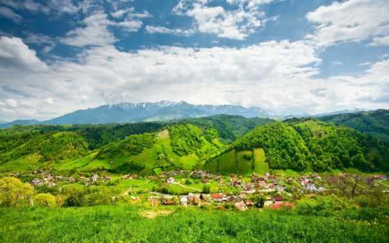 природа, trees, горы, карпаты, разное, oblaka, house, landscape, winter,