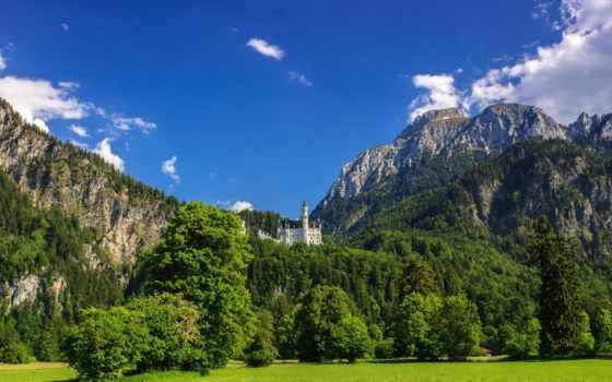 castle, нойшванштайн, нойшванштайн, landscape, горы, лес, природа, бавария, german,