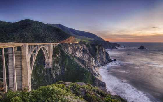 мост, bixby, заводь, биг, california, sur, биг, горы, stock,