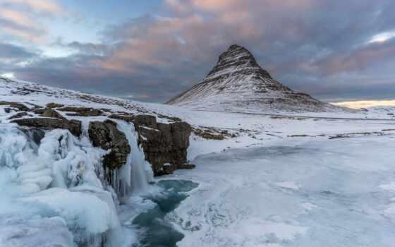 гора, картинка, снег, среда, iceland