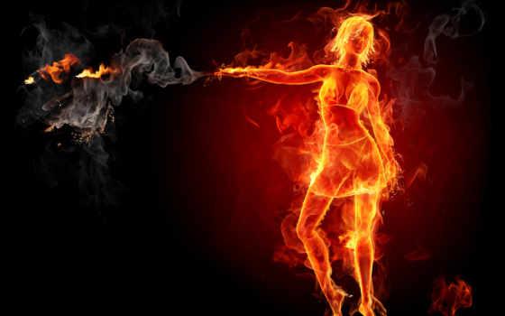 девушка, огонь