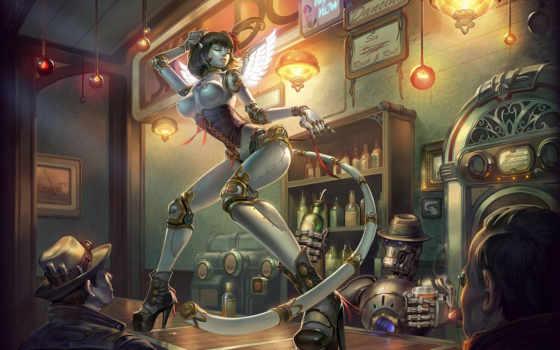 art, девушка, robot