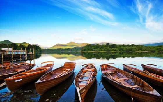 лодки, причал, озеро