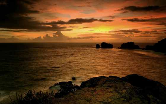 море, закат, скалы, небо, вечер, камни, water, oblaka, ocean, панорама,