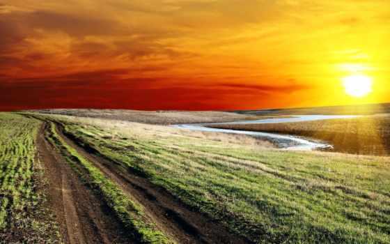 sun, природа, oblaka, закат, небо, дорога, картинка, закаты, рассветы, winter,