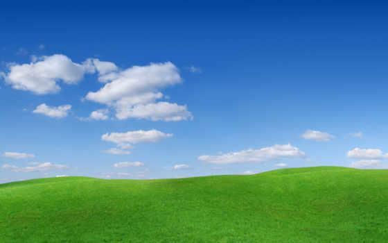 трава, небо, пейзажи -, oblaka, природа, холмы, склоны, бугры,