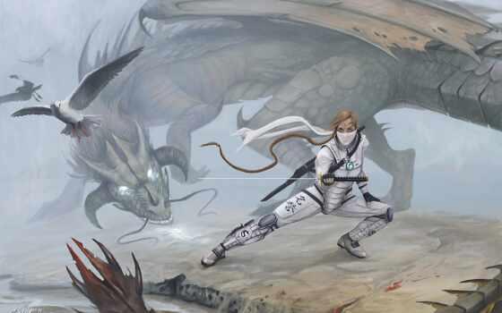 illustration, трюм, дракон, меч, bugden, ross, мужчина, катана, slayer