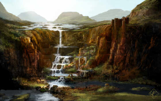 обрыв, водопад