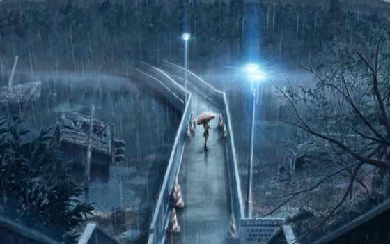 дождь, проливной, мост, фонари, день, rainy, девушка, высоком, anime,