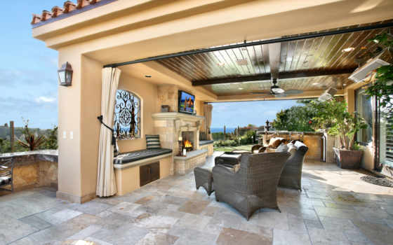 интерьер, стиль, design, villa, house, kitchen, камин, кухни, комната, lounge,
