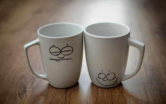 чашки, две, настроение, рожицы, кружки, чаепитие, девушка, чая,