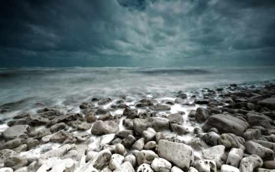 буря, море, тучи, landscape, камни,