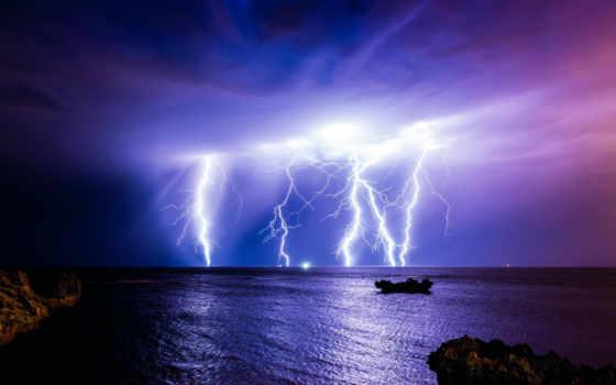 буря, lightning, ночь
