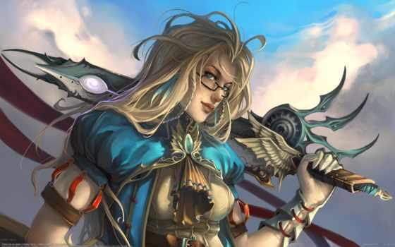воин, девушка, мечом, fantasy, длинноволосая, очках, сквозь,