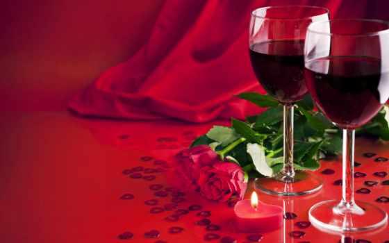 красные, вино, сердечки, розы, два, разных, красного, вина, бокала,