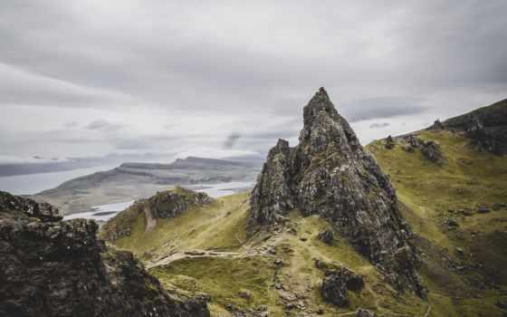rock, море, preview, зелёный, трава, поле, гора
