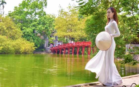 asian, пруд, платье, шляпа, модель, женщина, dimension, vietnam, прогулка, черепаха, white