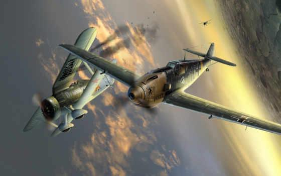 авиация, самолет, небо, небе, война, полет, сражение, wallpapers, hd, чайка, ме, бой,