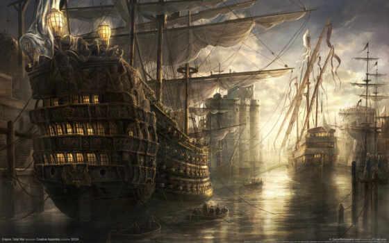 корабли, war, total, empire, восходе, море,