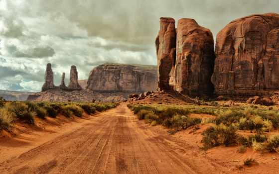 дорога, arizona, долина, пейзажи -, монументов, памятник, сша, облака, небо,
