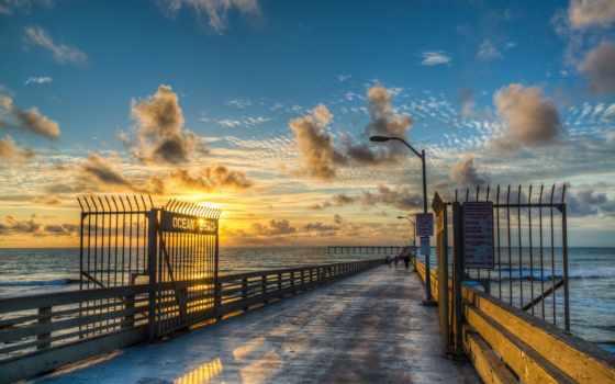 рассвет, небо, причал, ocean, море, горизонт, oblaka, закат, pier, distance, дек,