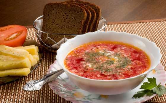 еда, напитки, вкусно, борщ, блюда, фрукты, хлеб, зелёный, сметана, lunch,