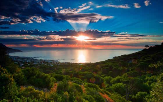 юар, африка, южная, cape, ocean, африки, море, небо, oblaka,