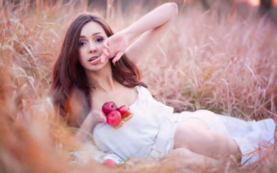 яблоки, девушка