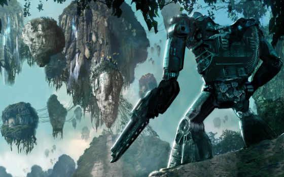 аватар, экзоскелет, пулемет, пандора, джунгли, горы, картинка, картинку, кнопкой, мыши,