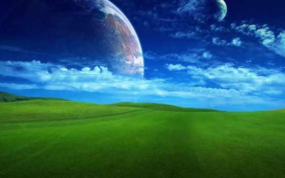 background, трава, поле, фэнтези, планета, зеленое, бескрайнее,