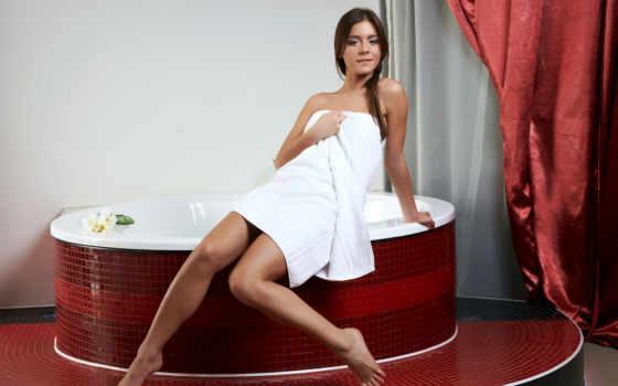 ванная, девушка, полотенце, плитка, занавески, девушки, взгляд,