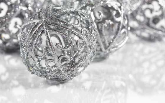 christmas, silver, decorations