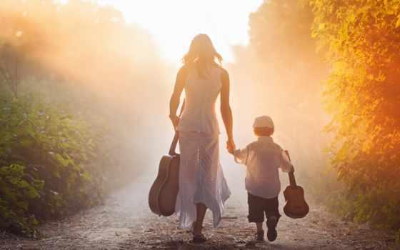 мама, сын, семья, гитара, рассвет, лес, дорога, засветило