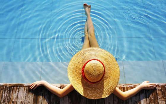 девушка, моря, time, шляпе, особенный, сильно, проявляется, отпуска, шляпа,