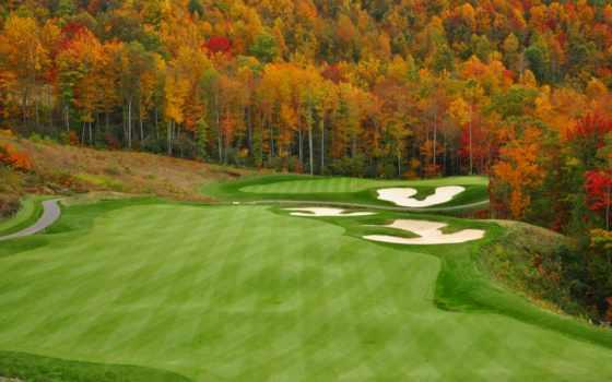golf, курс, гора