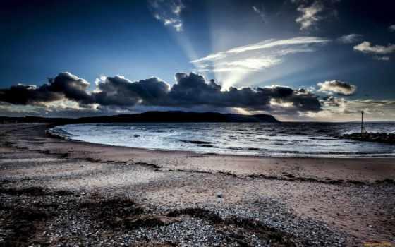 природа, tapety, страница, пляж, clouds, krajobraz, morze, pobra,