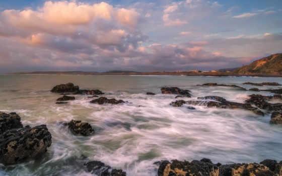sahil, manzarası, kumsal, resim, kayaları, страница, keywords, dalgalar,