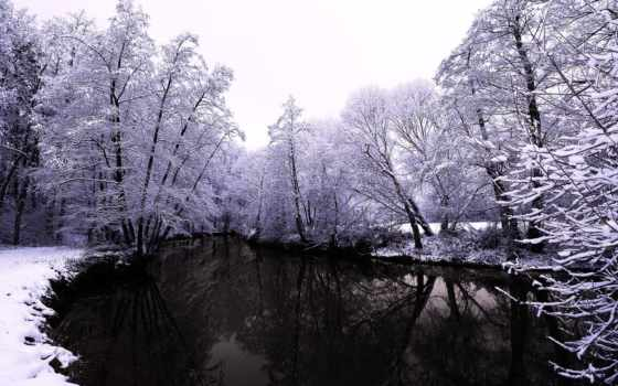 winter, water, снег, река, природа, trees, лес, коллекция,