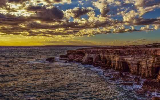 , скалы, море, берег, закат