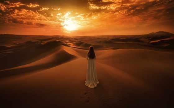 закат, пустыня, landscape