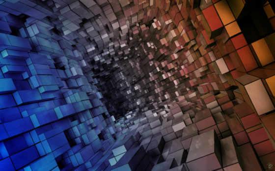 кубов, tunnel, blue, абстракция, abstract, красный, vista, коридор, cubes, состоящий,