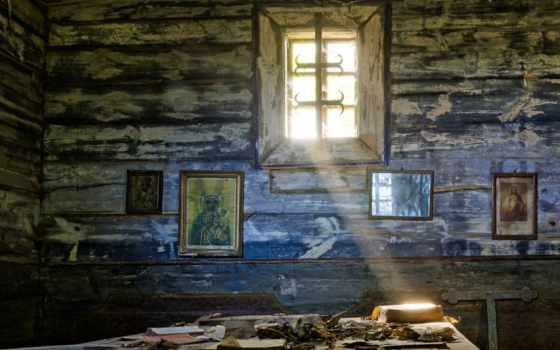 келья, окно, иконы, свет, библия, листья