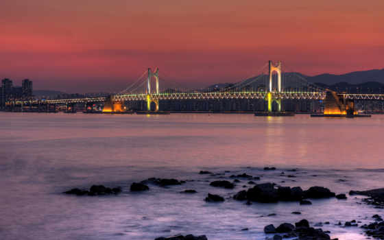 korea, мост, ночь