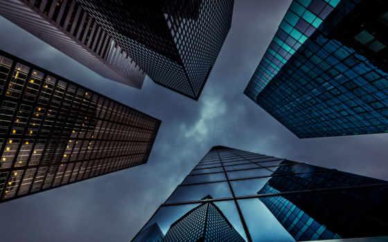 , здания, небо, огни,