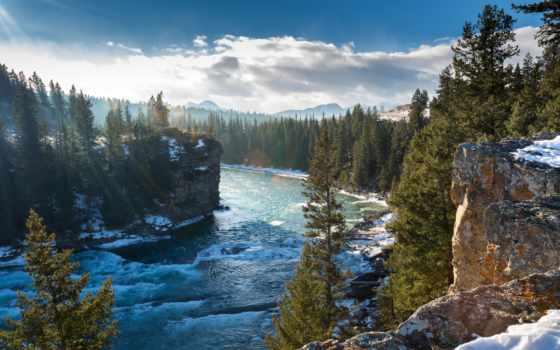 природа, горы, скалы, trees, снег, landscape, река, осень, канадский, небо,